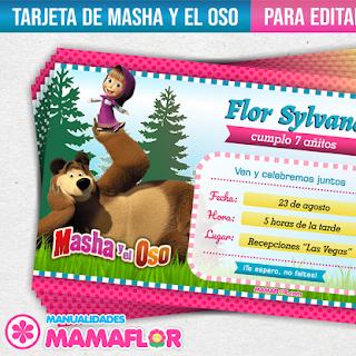 Invitaciones de Masha y el Oso: Tarjetas para Editar e Imprimir
