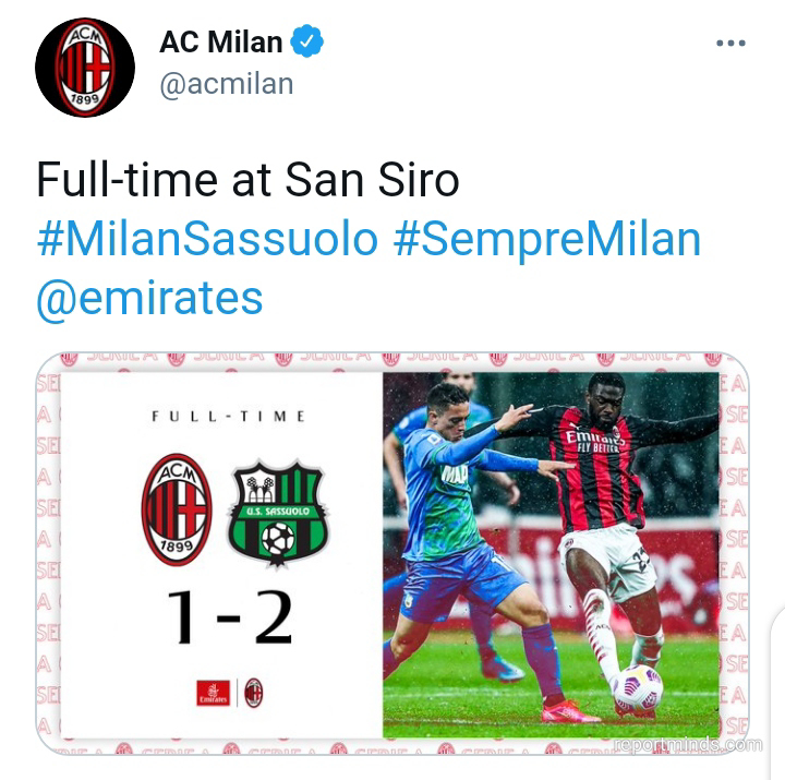 Serie A: Sassuolo came from behind to beat AC Milan 2-1 at San Siro (Highlights) 2020-2021