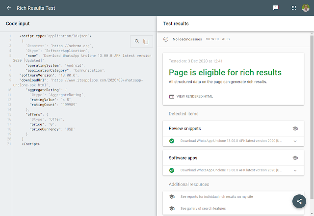 Check the Schema markup with Google rich results tool
