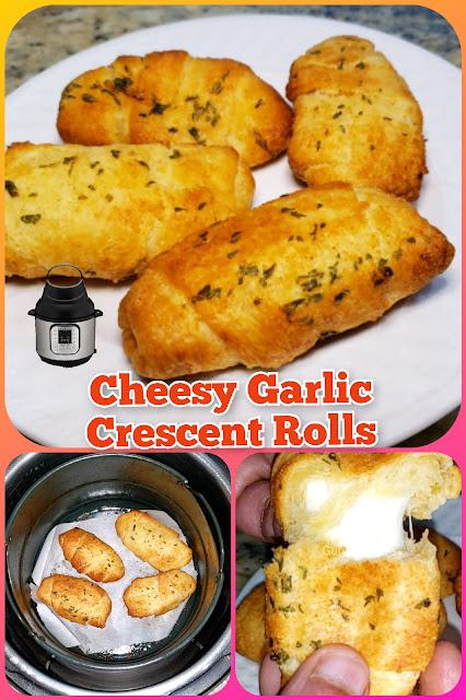 Cheesy Garlic Crescent Rolls in Air Fryer Lid