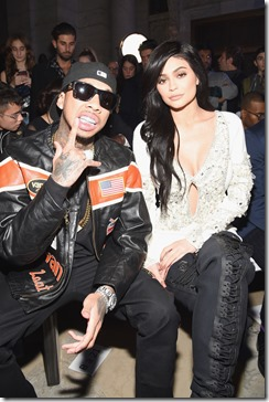NEW YORK, NY - FEBRUARY 13:  Tyga and Kylie Jenner attend the Front Row for the Philipp Plein Fall/Winter 2017/2018 Women's And Men's Fashion Show at The New York Public Library on February 13, 2017 in New York City.  (Photo by Dimitrios Kambouris/Getty Images for Philipp Plein)