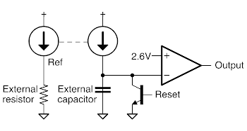 Schematic of one-shot circuit inside the 76477 sound chip.