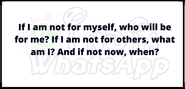 If I am not for myself, who will be for me If I am not for others, what am I And if not now, when