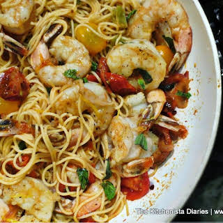 Spicy Shrimp & Cherry Tomato Pasta.