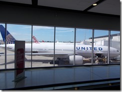 United Airlines plane at terminal