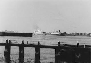 "Photo: ""Olau Finn"" entering the port of Vlissingen, May 1979 (Photo: H.G. Hesselink). To the right: ""Koningin Wilhelmina""."