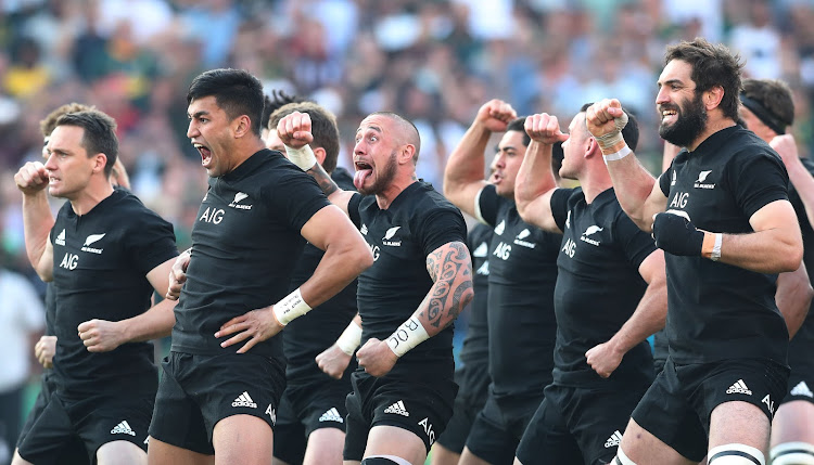 The All Blacks perform their pre-match Haka dance ahead of the Rugby Championship game between New Zealand and South Africa at Loftus Stadium in Pretoria on October 6, 2018.