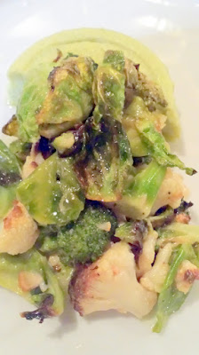 Broccoli Sformato with Brassica Salad, Anchovy, Jacobsen Ghost Chili Salt by Renata