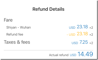 Flight refund Ctrip