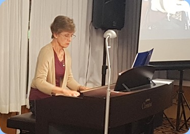 Denise Gunson playing the Yamaha Clavinova CVP-509.