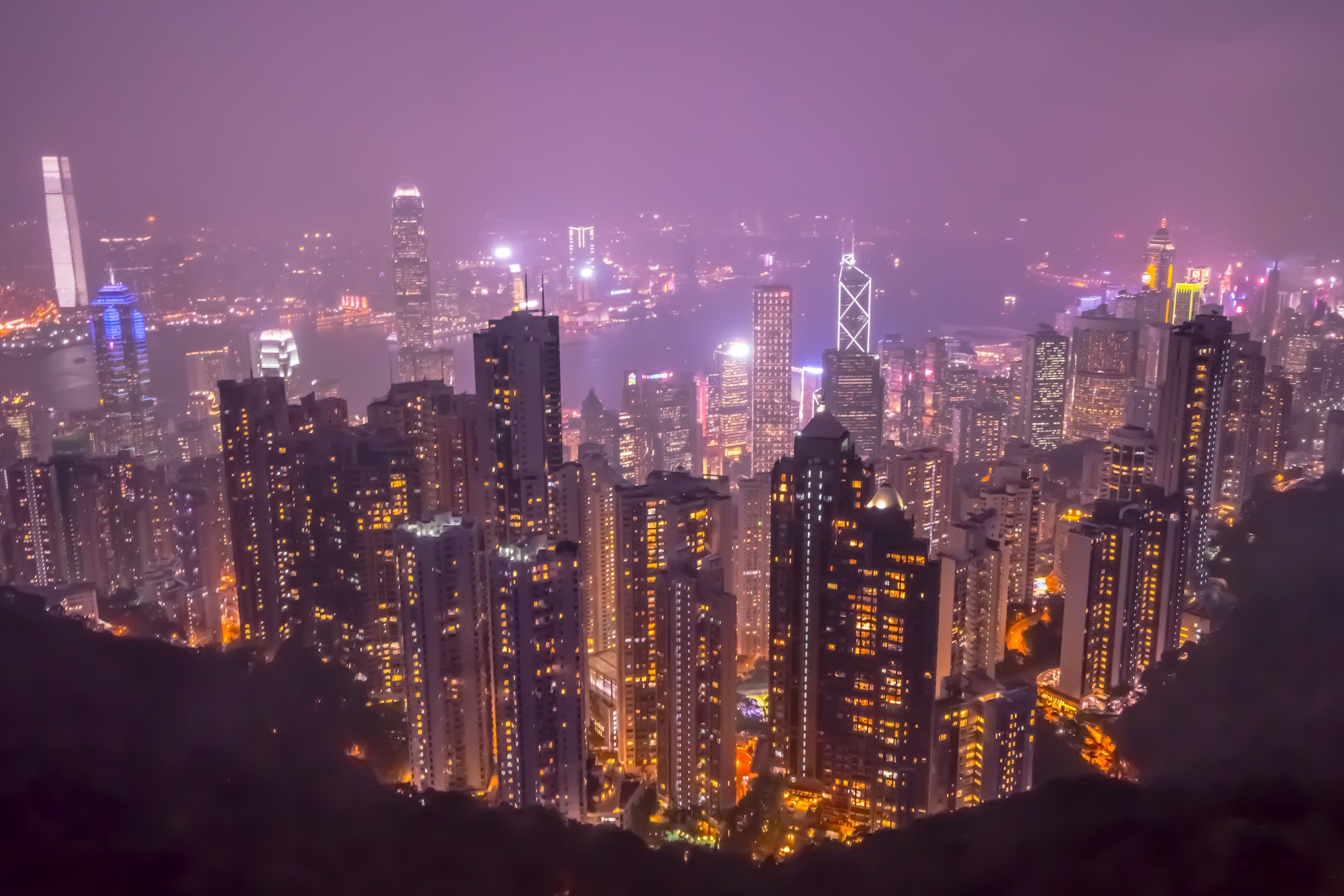 Hong Kong Peak Tower evening view