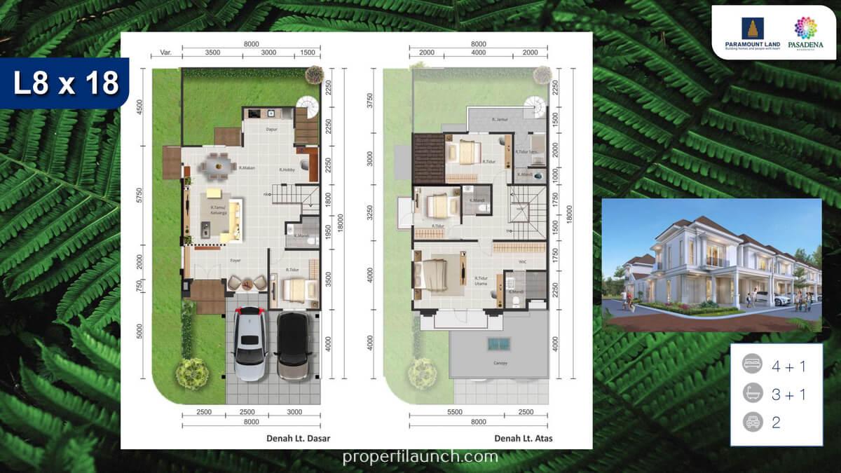 Rumah Pasadena Residence Tipe 8x18 Sudut