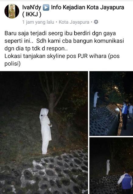 Wanita Berpakaian Putih Berdiri Di Tikungam Skyline, Jayapura, Papua