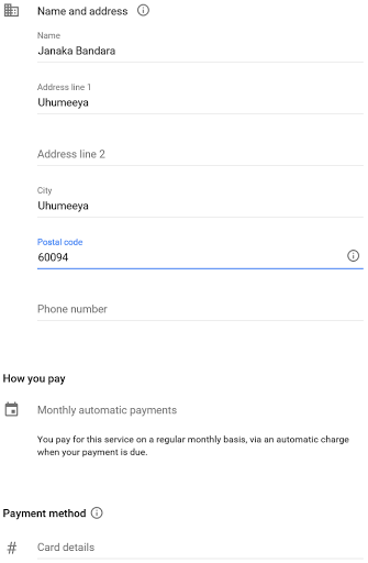 filling in payment details for your billing account