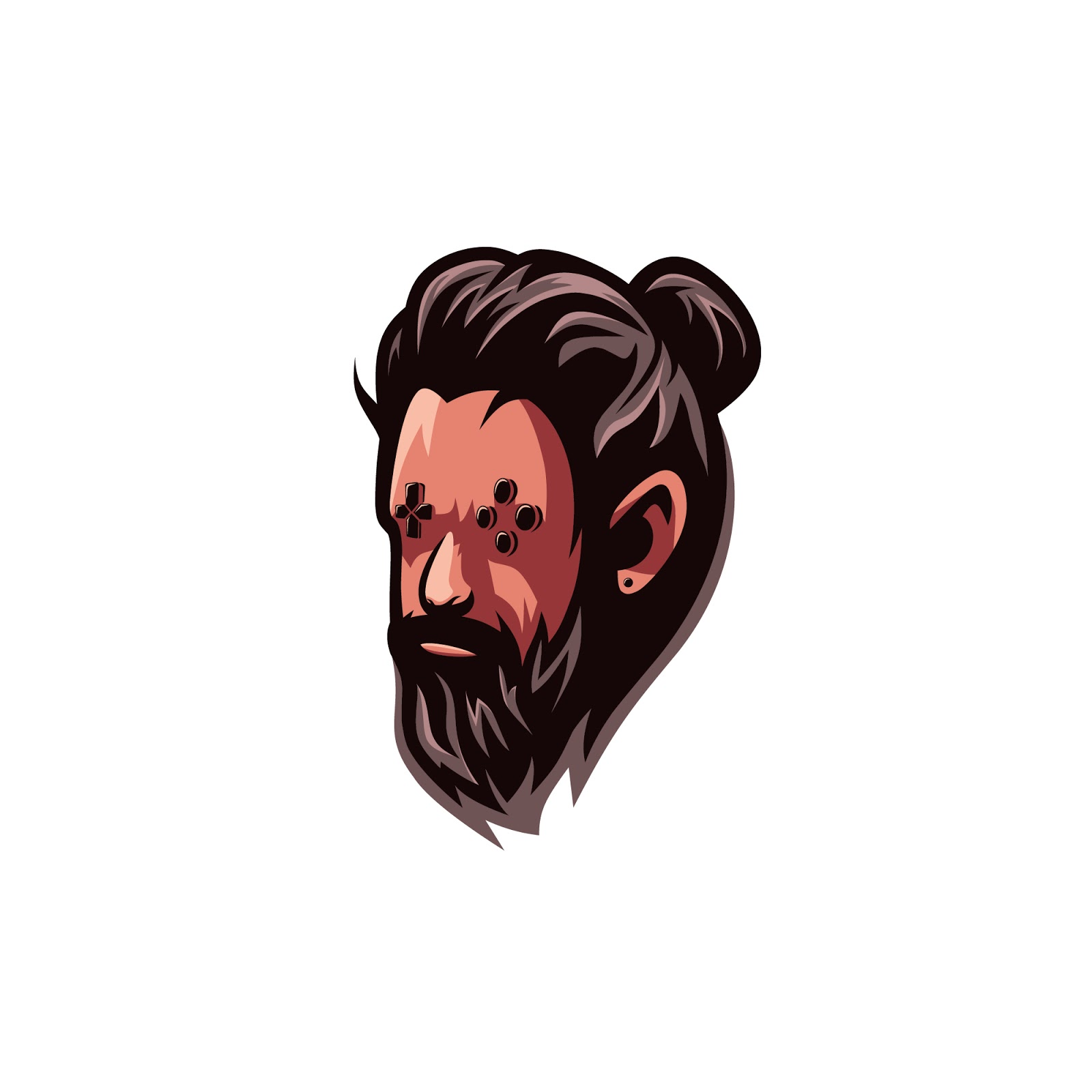 Beard Gaming Character Free Download Vector CDR, AI, EPS and PNG Formats