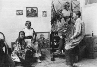 Victor Higgins in Taos Studio