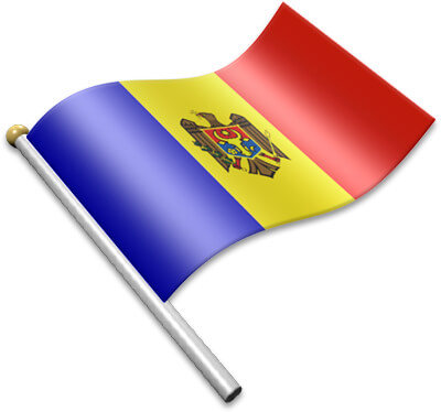 The Moldovan flag on a flagpole clipart image