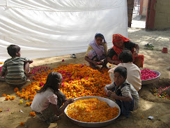 Preparing flowers for Holy festival
