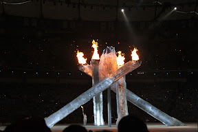 Catriona Le May Doan lighting the Olympic cauldron