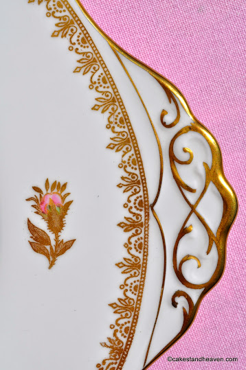 Tuscan gold and pink rose cake plate