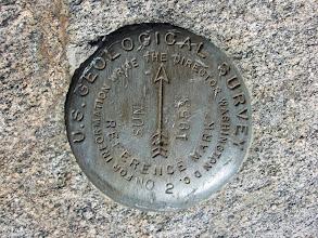 Photo: Survey marker on Sunset Peak
