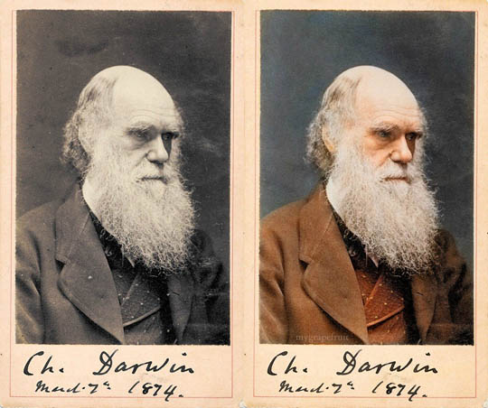 Чарлс Дарвин - Най-известните исторически черно-бели фотографии в цвят
