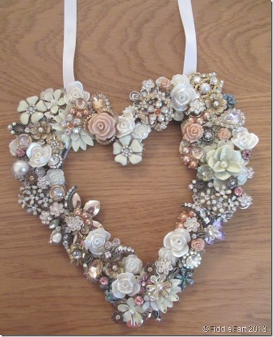 Jewelled Wedding Heart - old brooches