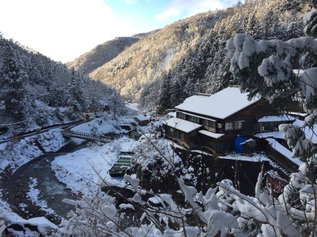 The view from the Snow Monkey Park Jigokudani Yaen-Koen in Nagano. This day trip is a must if you are visiting Japan in the winter.