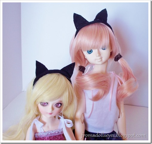 Cat ears headband for dolls.  Perfect for Halloween.