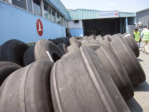 Enormous airplane tires, Turkish Technic