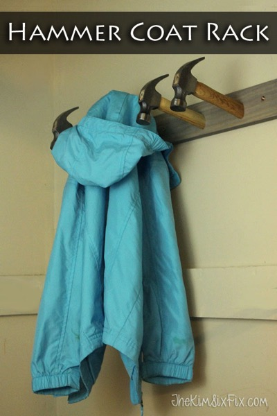 Using dollar store handles and a a piece of scrap lumber, you can create a great coat rack. Perfect for a woodworker.  And the hooked end of a claw hammer means nothing will fall off the hooks easily!