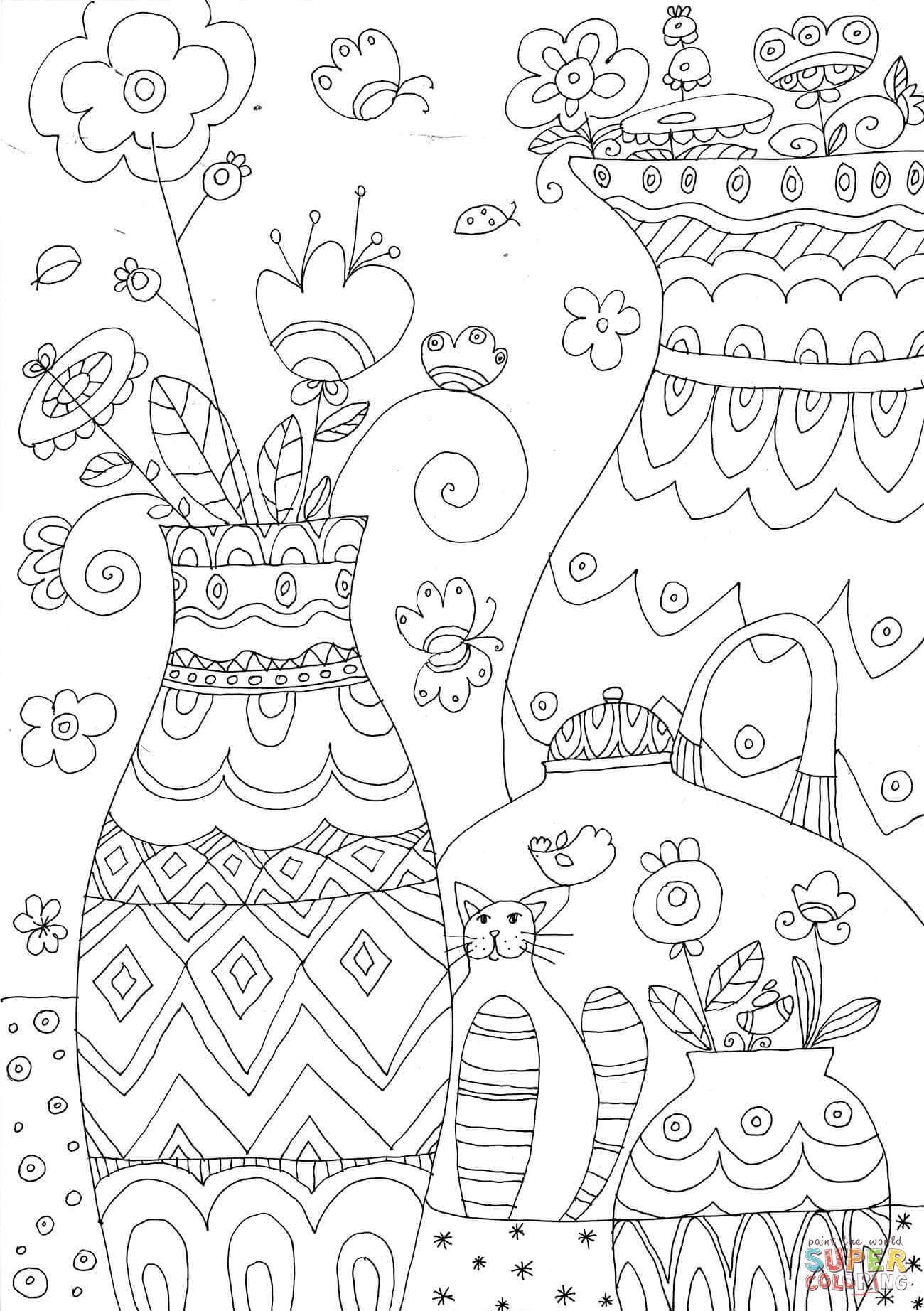 Best Vase Coloring Page Design