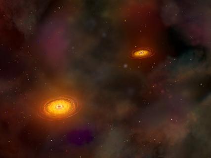 ilustração de um par de buracos negros supermassivos