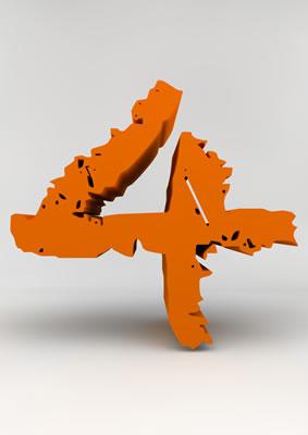 lettre 3D chiffron de craie orange - 4 - images libres de droit
