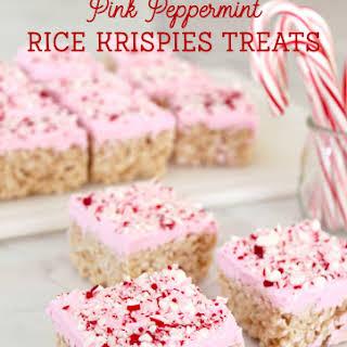 Pink Peppermint Krispies Treats.