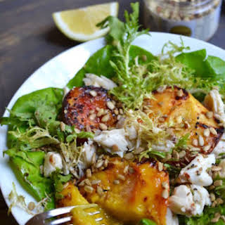 Grilled Peach and Crab Meat Salad.