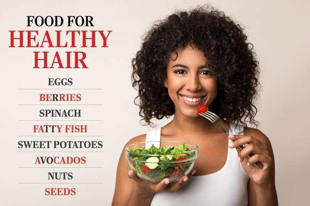 إنفوجرافيك الغذاء لشعر صحي