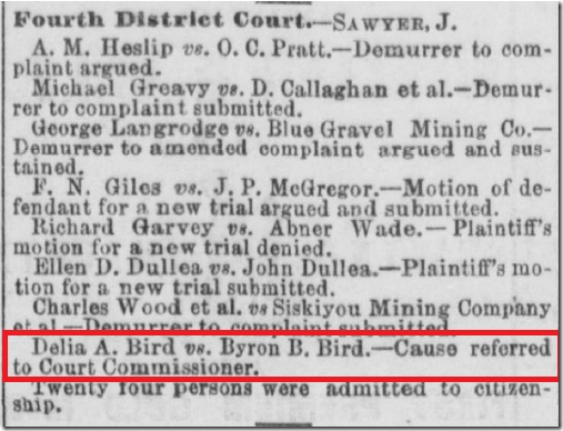 Delia A. Bird Vs. Byron B. Bird  - 原因提到法庭专员。