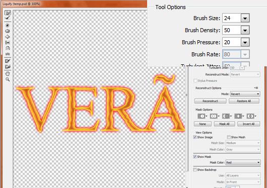 Use a Forward Warp do filtro Liquify para criar distorções no texto
