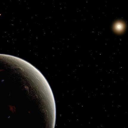 ilustração de uma super-Terra em órbita da estrela 40 Eridani A