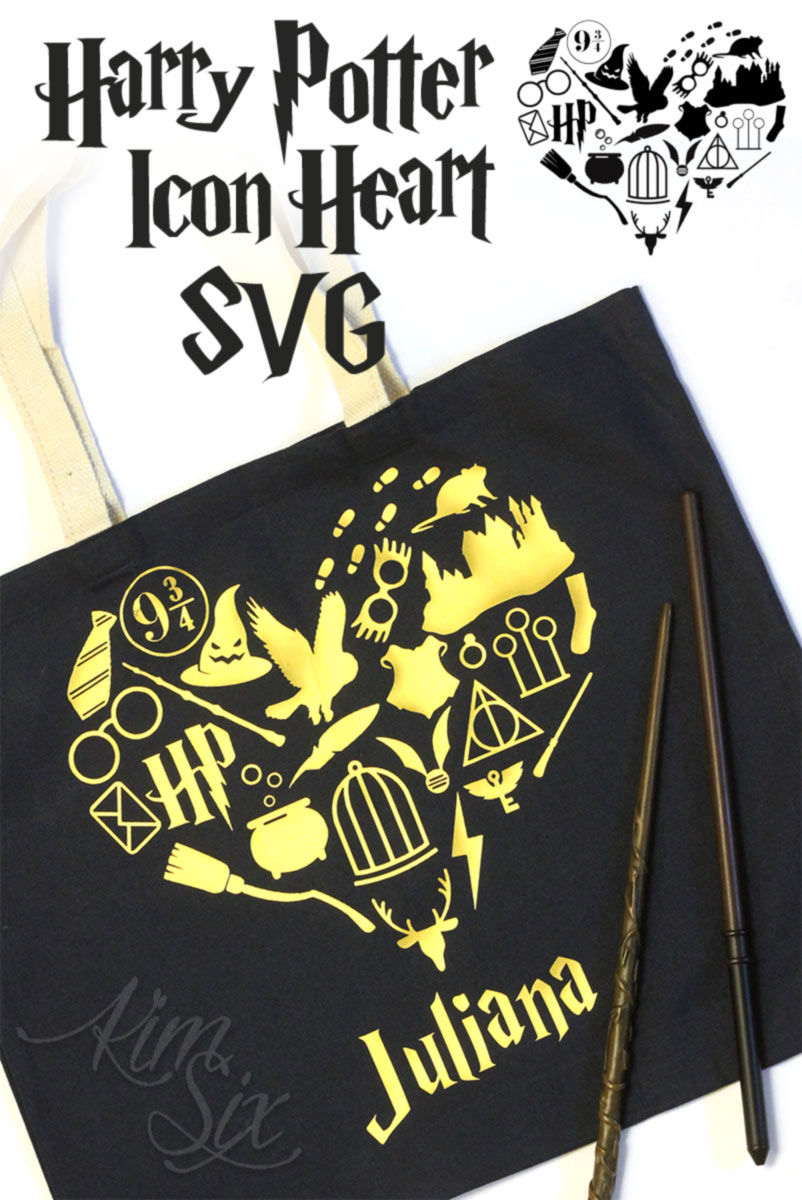 A SVG file featuring all the iconic images from Harry Potter books and movies in the shape of a heart.  She used it on a tote bag, but it could be also be split up and used for countless things!