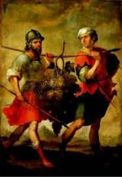 Homens carregando cacho de uvas de Canaã