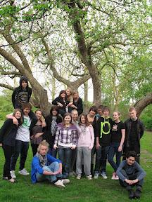 8y den sidste gang til undervisningen i kirkens store æbletræ, inden de blev konfirmeret den 2. maj.