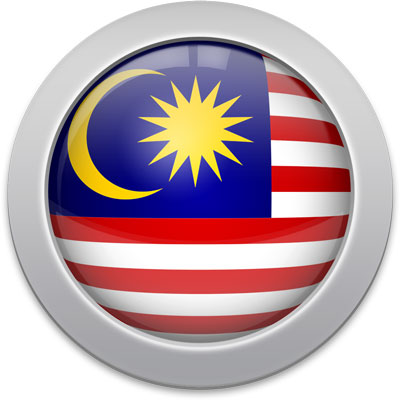 Malaysian flag icon with a silver frame