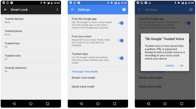 Google Android Lollipop Trusted Voice