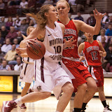 Montana's Kenzie De Boer drives the lane early in the first period.  De Boer logged seven points, four rebounds, and a single assist during Monday's 85-47 victory over Minot State.  Dahlberg Arena in Missoula, Mont., November 5th, 2012.