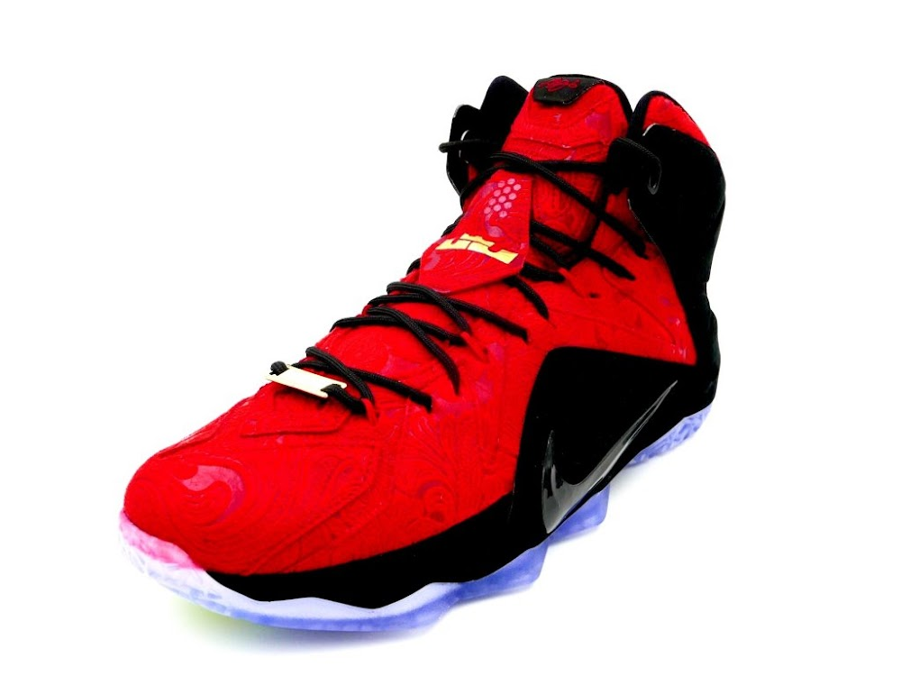 8918d94689e ... Up Close amp Personal with Nike LeBron 12 EXT Red Paisley ...