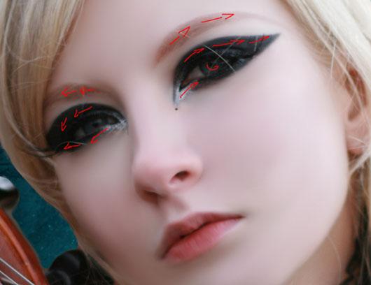 Direção das pinceladas nos olhos