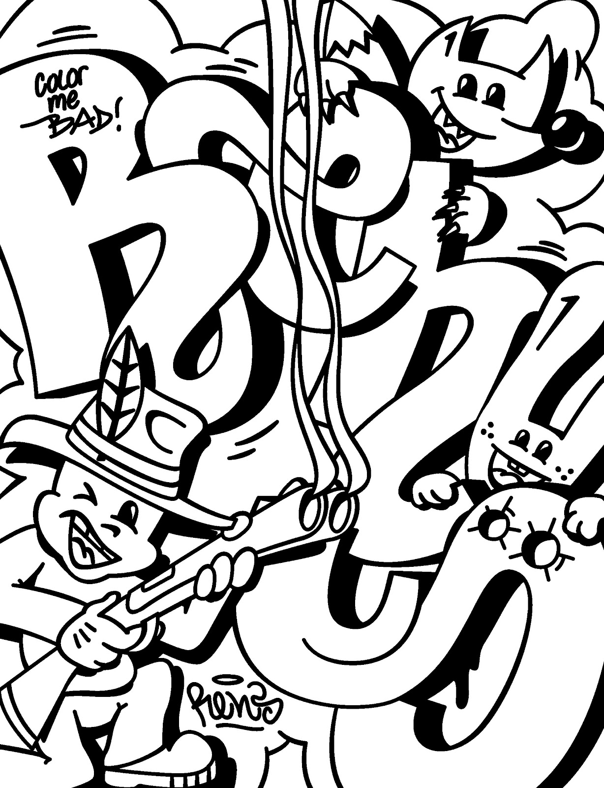 Best 15 Cool Graffiti Coloring Pages Free