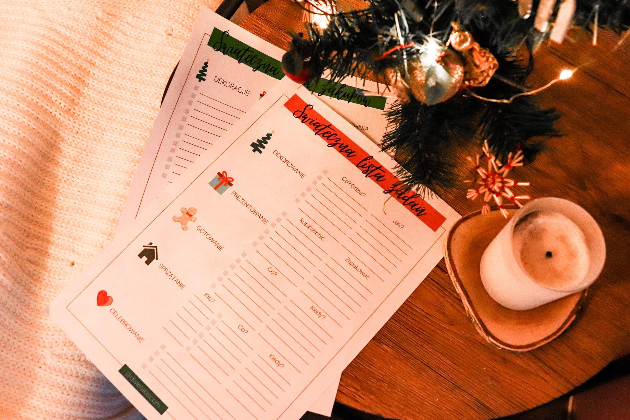 Świąteczny planner; święta, świąteczne porządki, boże narodzenie, prezenty, prezentownik, merry christmas, świąteczne planowanie, lista zakupów, do druku
